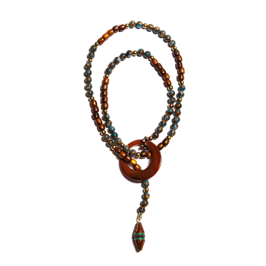 Long Length Wire Necklace with Agate Stone Ring, Wood, Jasper Stone and Handmade Nepal Beads