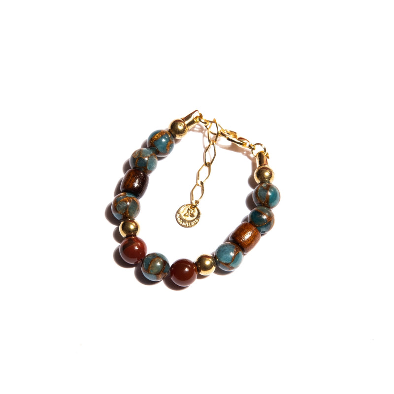 Jasper Stones Bracelet with Wood and Gold-Plated Metal