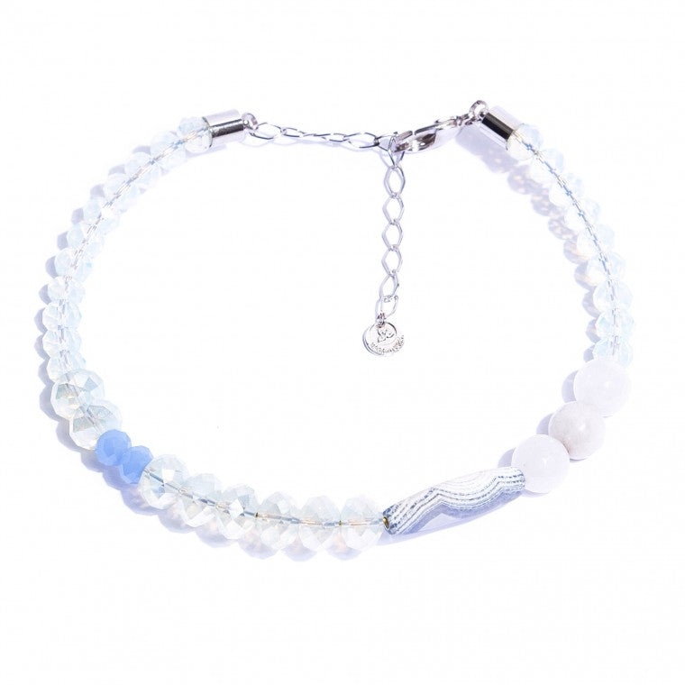 Stone Jade Milk choker necklace, Blue sponge agate stone, crystals and palladium-plated and metals