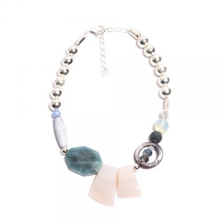 Medium Silver-Plated Necklace, Howlite Stones, Sponge Jasper, Crystals, Mother of Pearl, Heavenly Jasper and White Agate