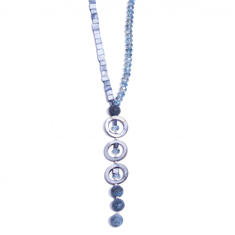 Long necklace with mother-of-pearl, crystals, sponge jasper stone and silver-plated metals