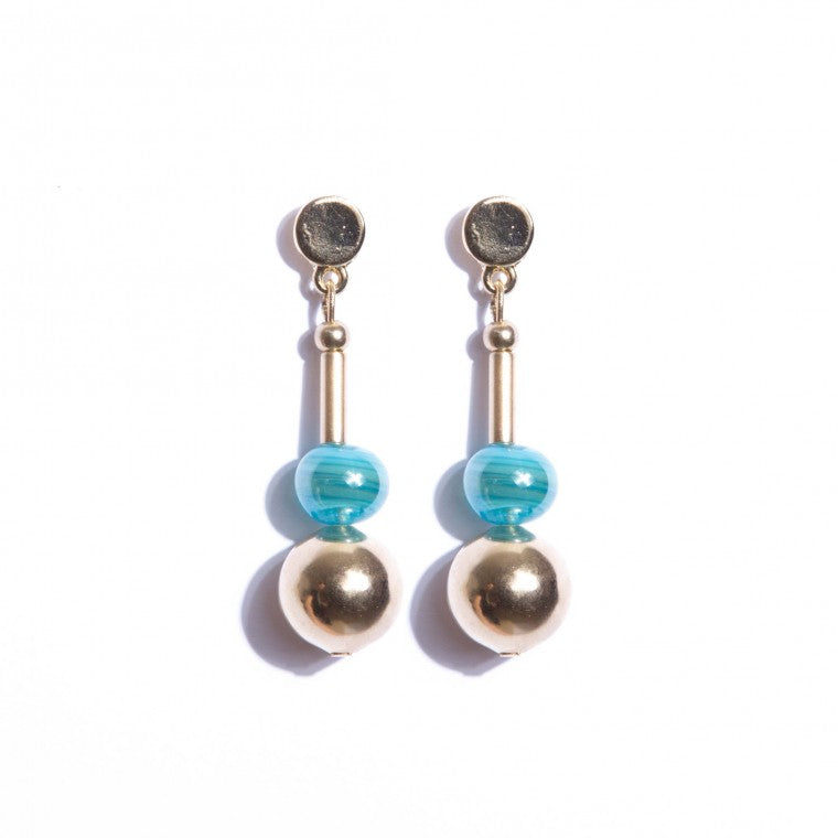 Murano stone earring and gold plated metals