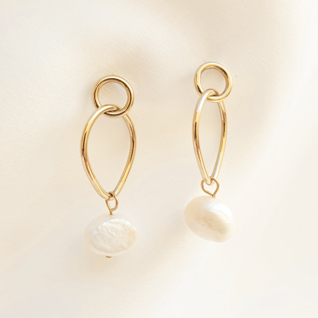 Stainless Steel Gold Earrings, Irregular Pearl