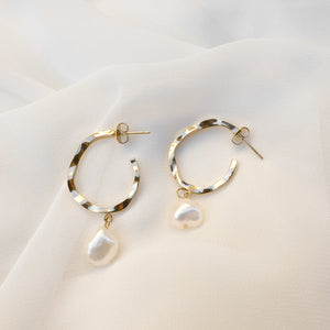 Stainless Steel Gold Irregular Hoop Earrings with Pearl Pendant Charm Dangle