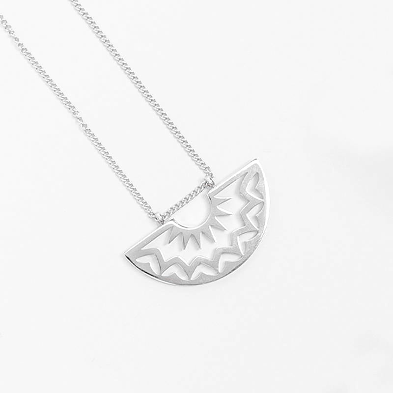 Geometric Sun Cresent Stainless Steel Necklace