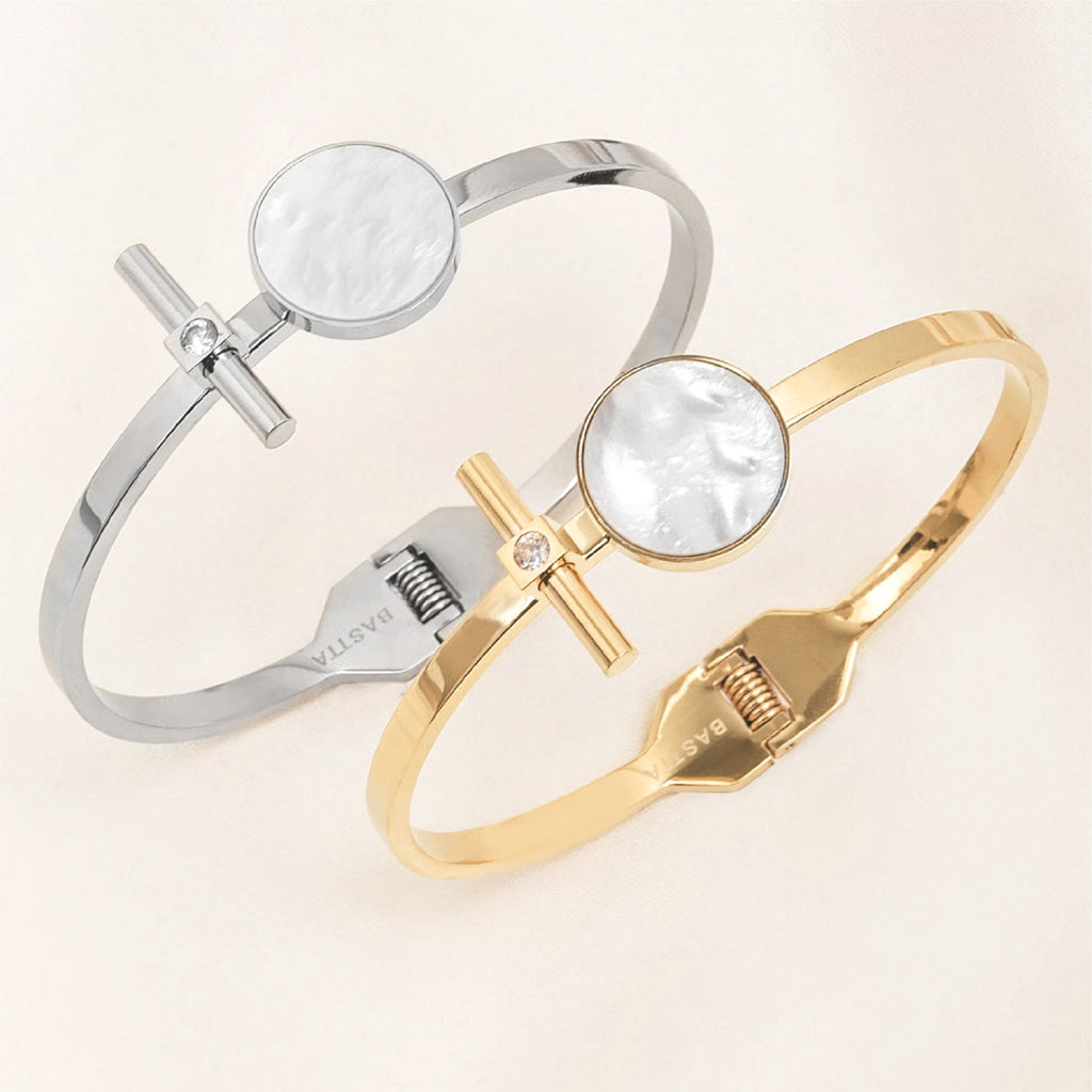 Mother of Pearl Moon and Star Crystal Bangle