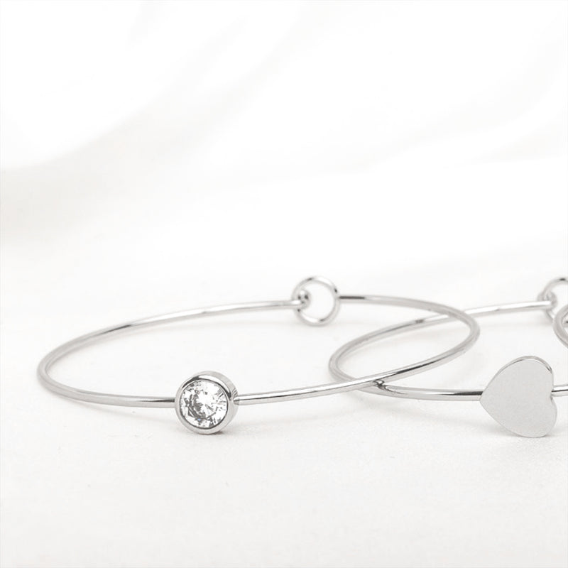 Stainless Steel Silver Crystal Bangle