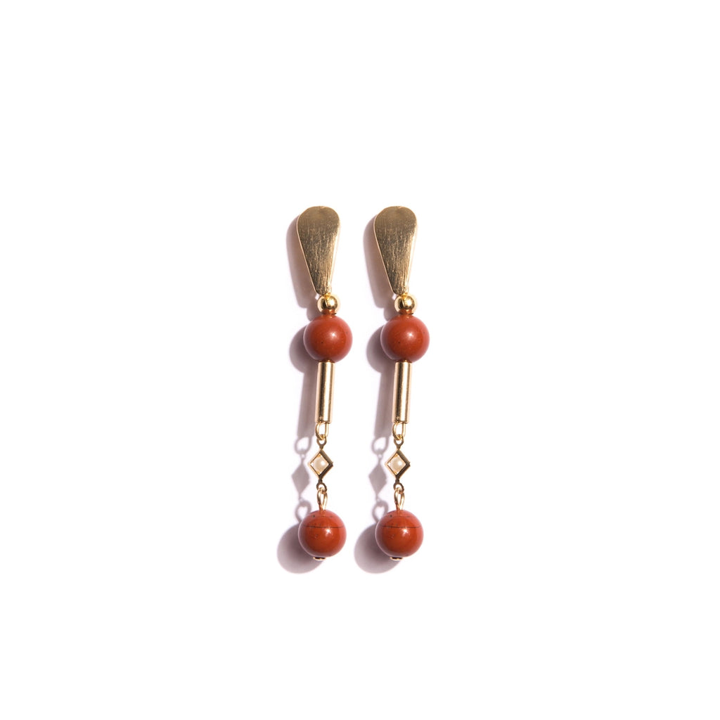 Red Jasper Stone and Gold-Plated Earring