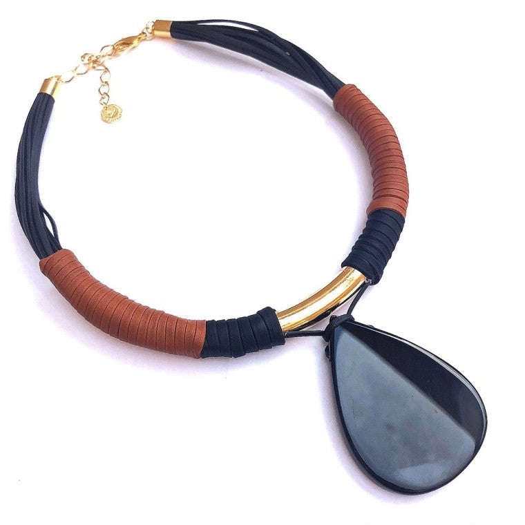Ecological leather necklace, black Agata drop stone and gold-plated metals