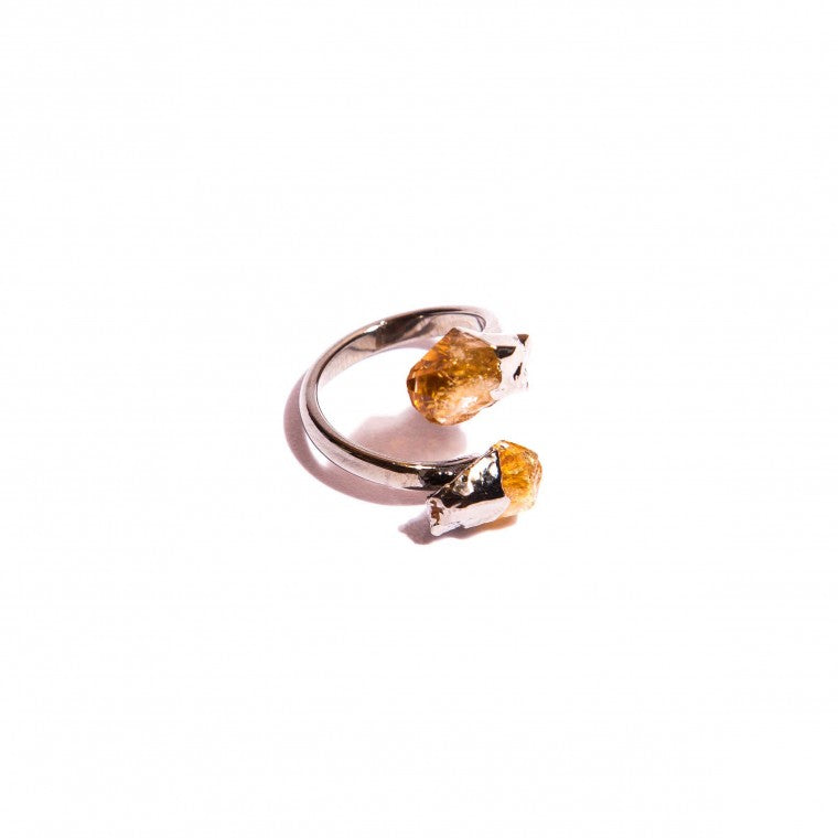 Adjustable ring in rough natural stone Citrine and graphite-plated metals