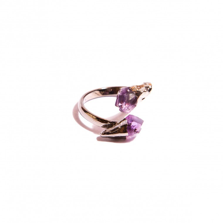 Adjustable ring, natural stone, raw Amethyst and graphite-plated metals