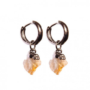 Graphite-Plated Small /Medium Earrings with Rough Citrine Stone
