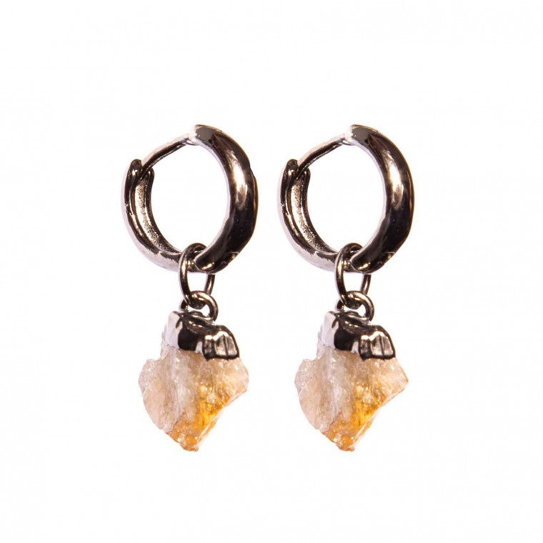 Small / medium earring rough natural stone Citrine and graphite-plated metals