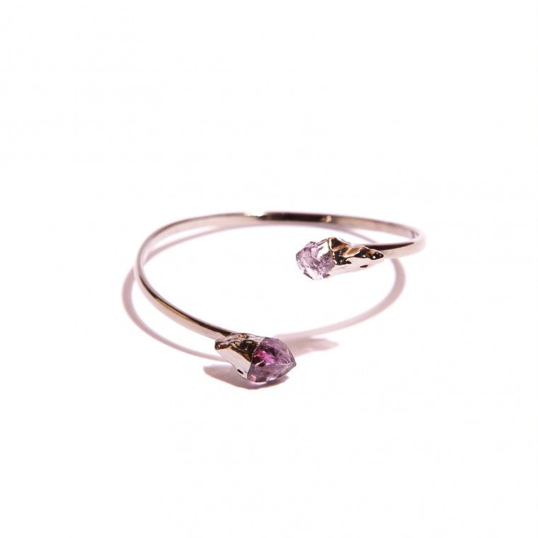 Natural rough amethyst and graphite-plated metal cuff