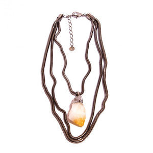 Crude natural stone citrine necklace and graphite-plated metals
