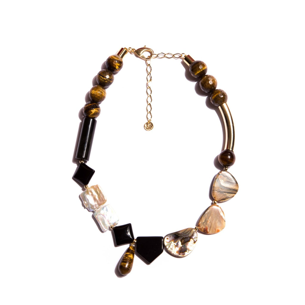 Tiger's Eye, Natural Pearls and Onyx Necklace