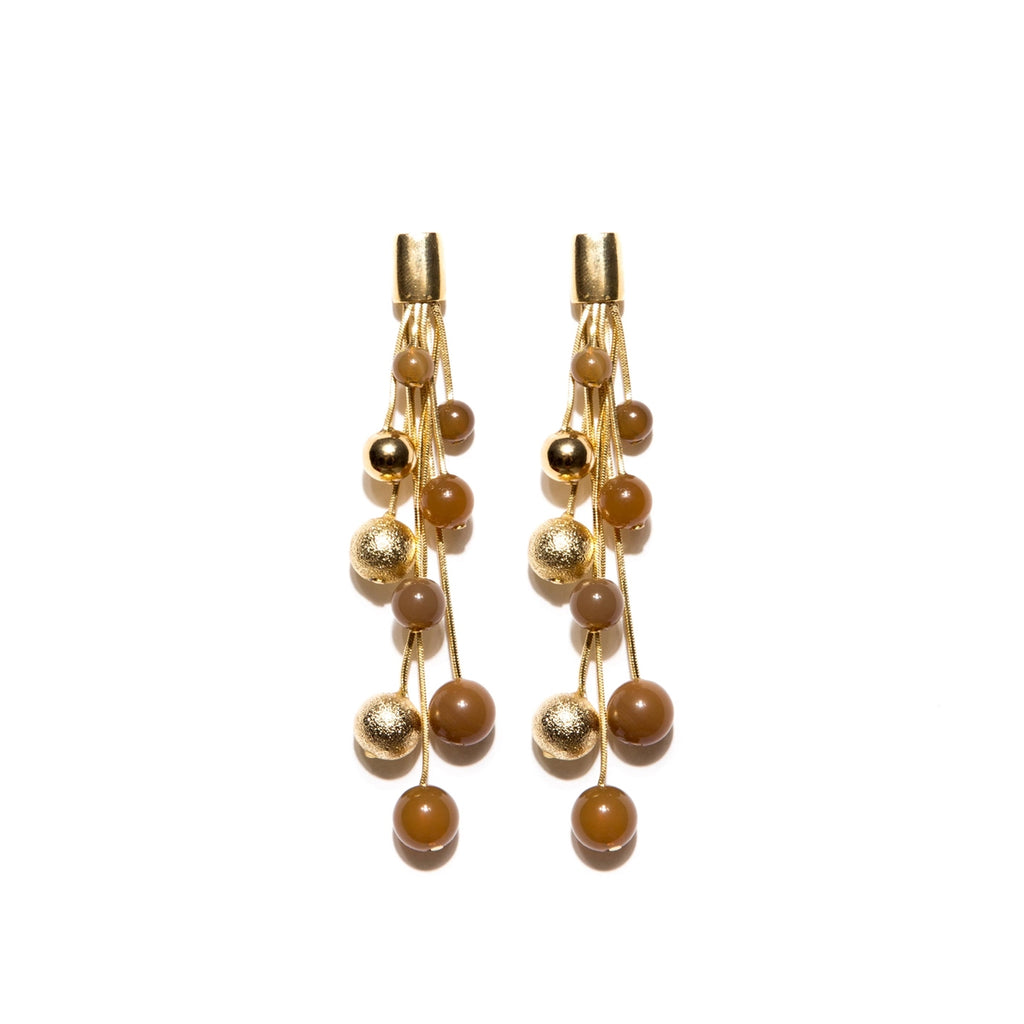 Cascade Agate Stones with Caramel Spheres on Gold-Plated Earring