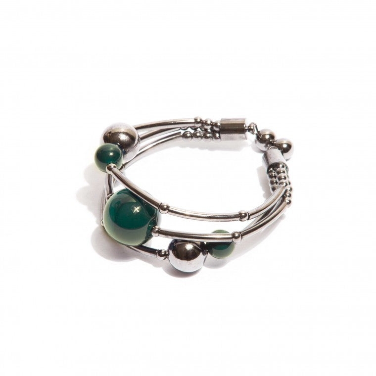Green agate stones bracelet and graphite-plated metals