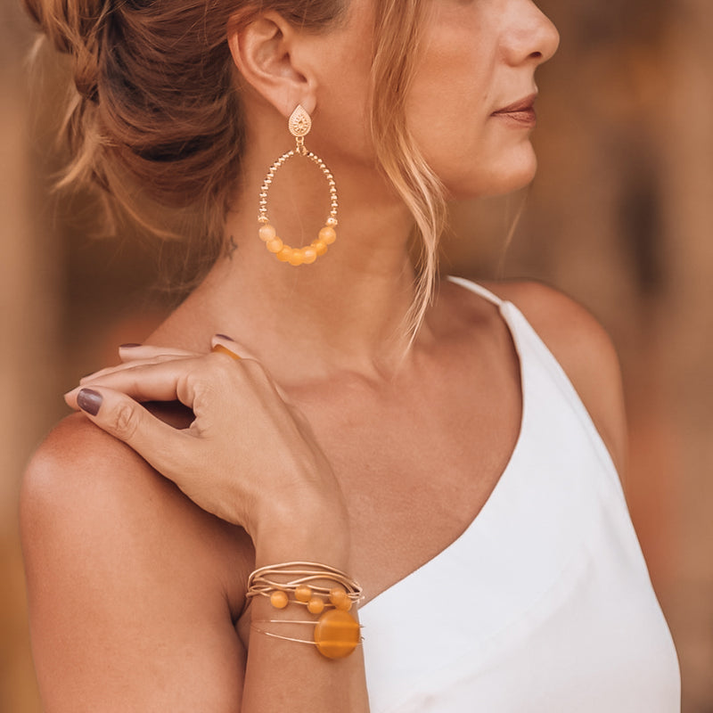 Gold-plated with Agate Hoop Earrings