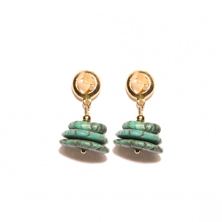 Gold-Plated Small Earrings, Howlite Turquoise and Crystals