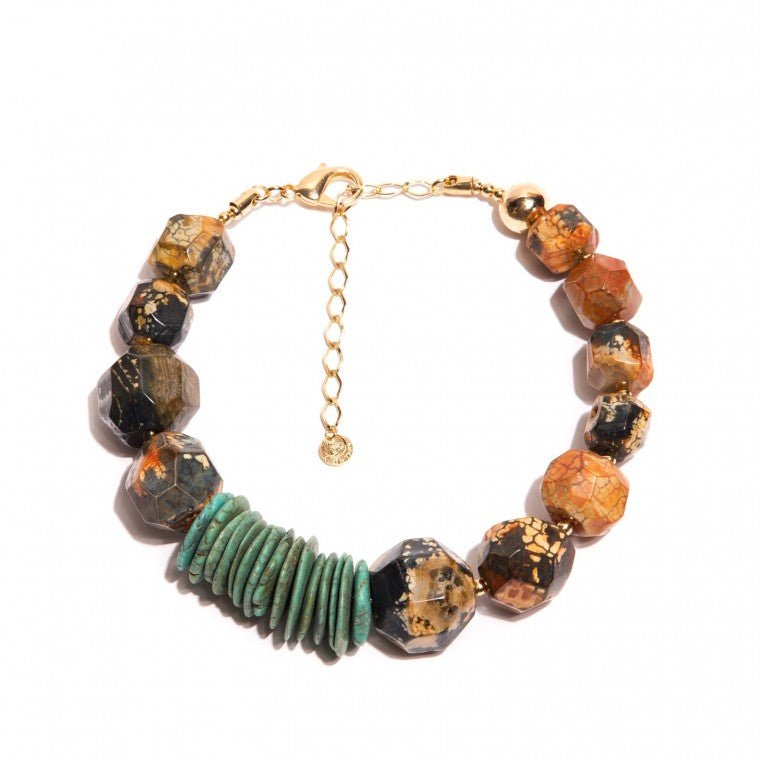 Earth's Orbit necklace with African agate stones, turquoise howlite discs, crystals and gold-plated metals