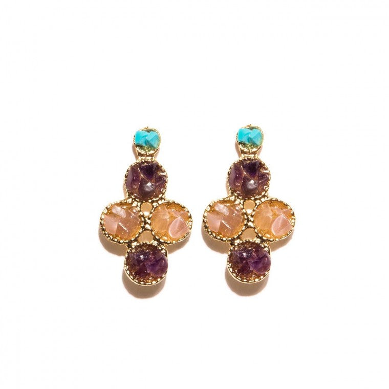 Gold-Plated Earrings, Amethyst Stone, Tiger's Eye and Turquoise Stone in Gravel