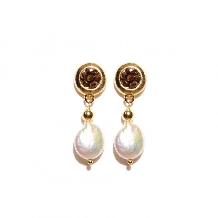 Medium earring Brown crystals, Pearls and gold-plated metals