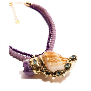 Lilas crystals, purple muranos, mother of pearl with Amethyst and Oceanic Jade and gold-plated metals