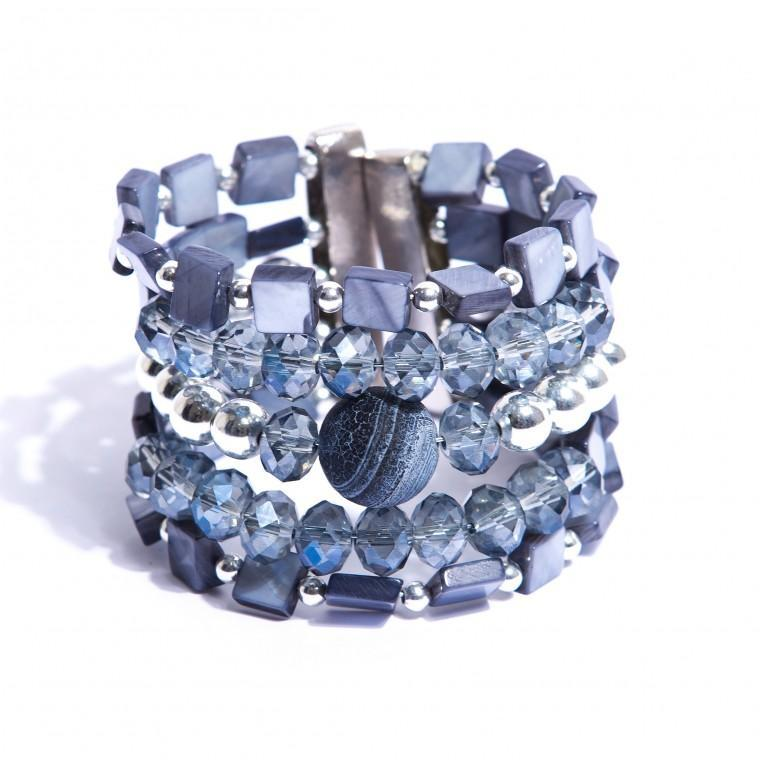 Silver and Palladium-Plated Bracelet, Mother of Pearl, Sponge Jasper Stone and Crystals