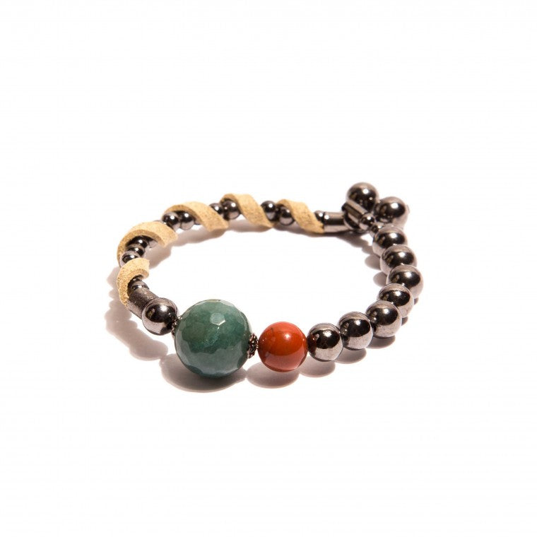 Graphite-Plated Bracelet, Green Quartz, Red Jasper Stone and Beige Suede