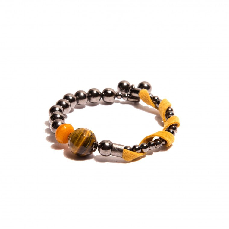 Ecological Suede Graphite-Plated Wire Hoop Bracelet, Tiger's Eye Stone, Mustard Jade Stone