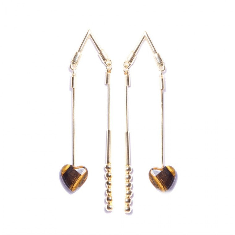 Gold-Plated Cupids Arrow Earrings with Rutile Quartz