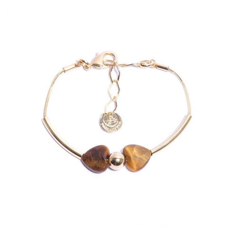 Gold-Plated Bracelet with Tiger's Eye Stones