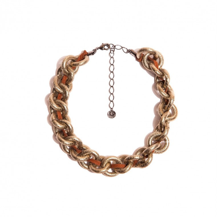 Chain Choker Necklace with Vegan Leather