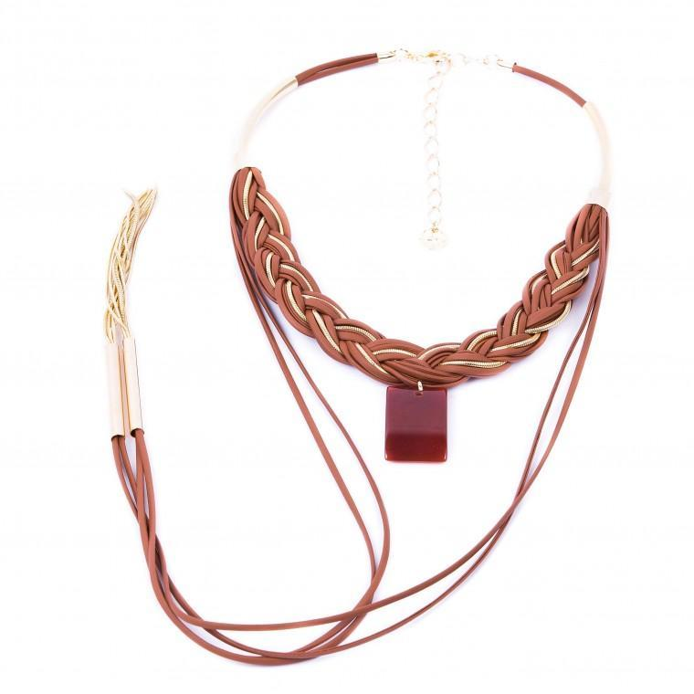 Leather Braid Necklace, Agate Stone and Gold Plated Metals