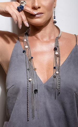 Necklace maxi blue, pink and smoky crystals with palladium-plated metals