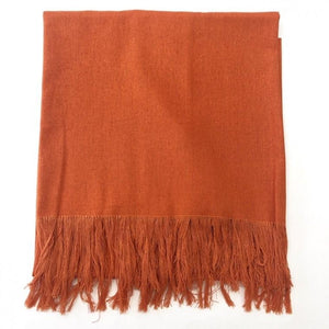 Flax Linen fringe Scarf Earth color