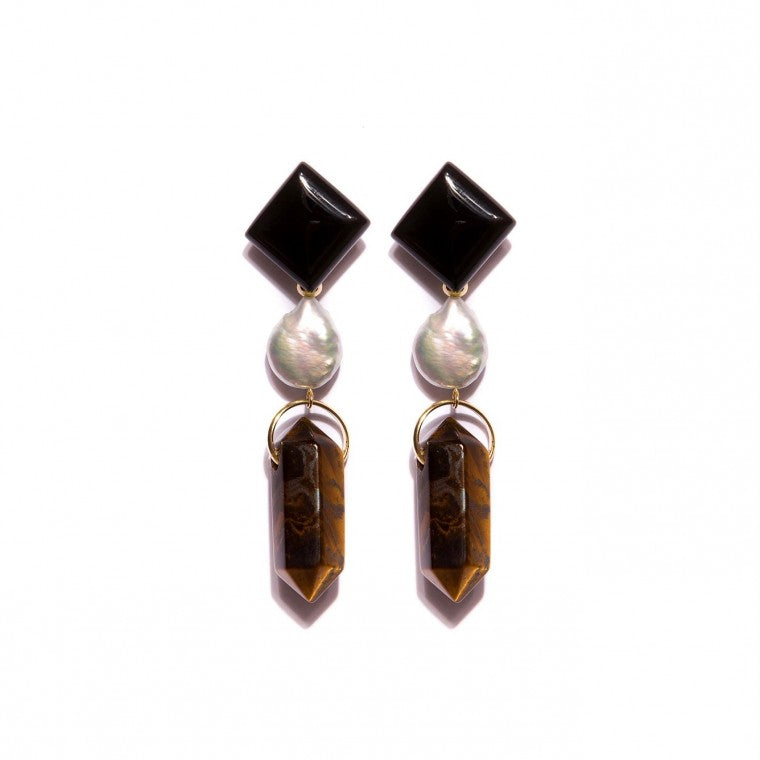 Long Gold-Plated Earrings, Black Agate Stone, Tiger's Eye and Pearl