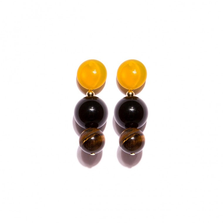 Medium Gold-Plated Earrings, Yellow Agata Stone, Yellow Onyx and Tiger's Eye