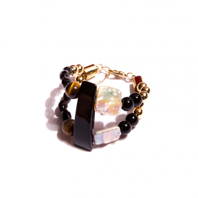 Gold-Plated Luxury Bracelet, Agate Stones, Onix, Tiger's Eye and Pearls