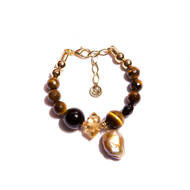 Gold-Plated Bracelet with Agate Stone, Tiger's Eye, Citrine and Pearls