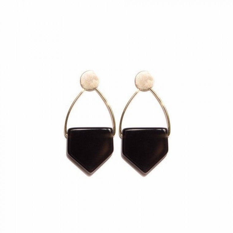 Geometric medium earring Agata stone black and gold plated metals