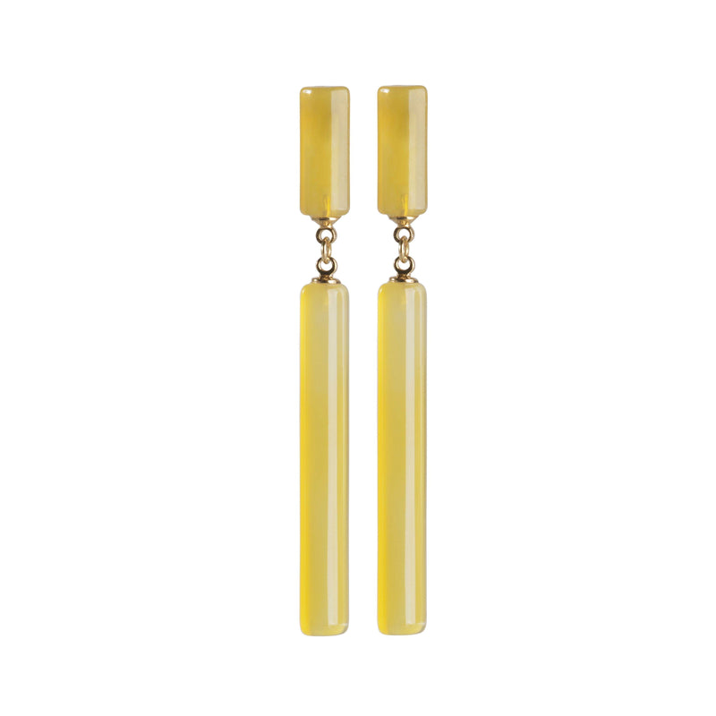 Thin Agate Stone Earrings with Gold-Plated Metals