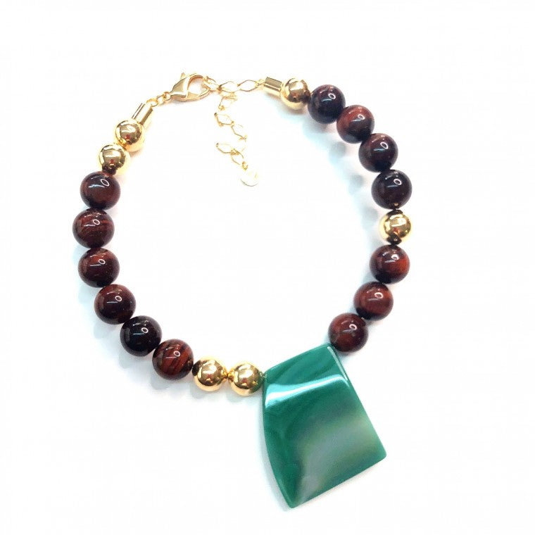 Short Gold-Plated Necklace, Red Tiger's Eye Spheres and Green Agata