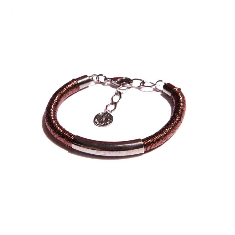 Coffee Mesh and Graphite-Plated Bracelet