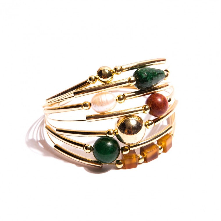 7 Layers Gold-Plated Bracelet, Jade, Agate and Baroque Perls