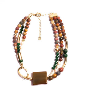 Gold-Plated Necklace, Caramel Cube Agate Stones, Honey and Green Jade Stones and Baroque Pearls