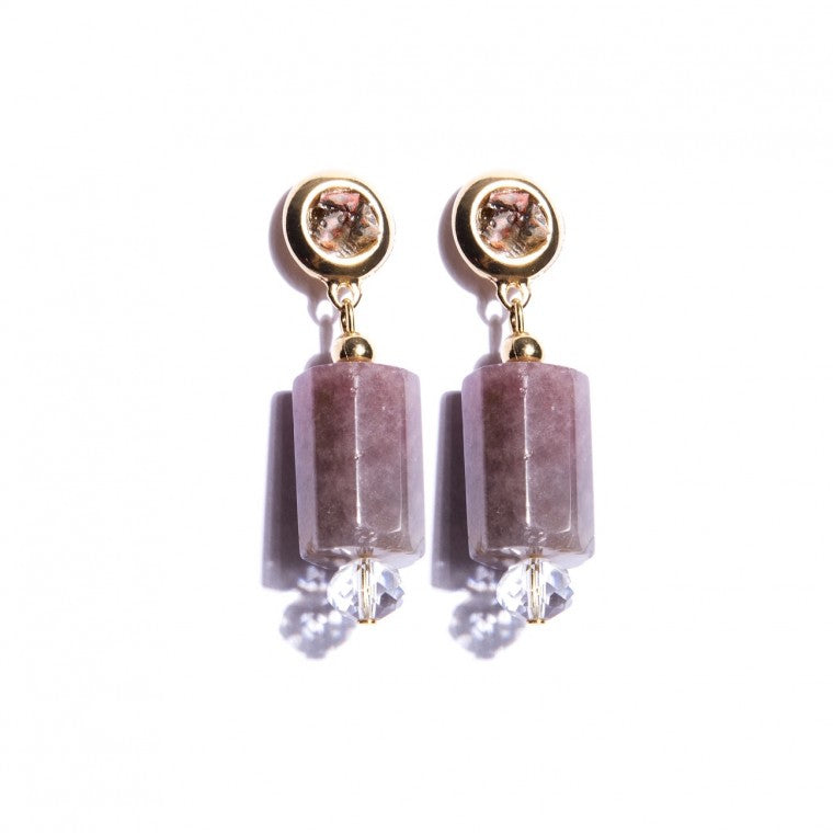 Gold-Plated Medium Earring, Strawberry Quartz and Mookaite Stones