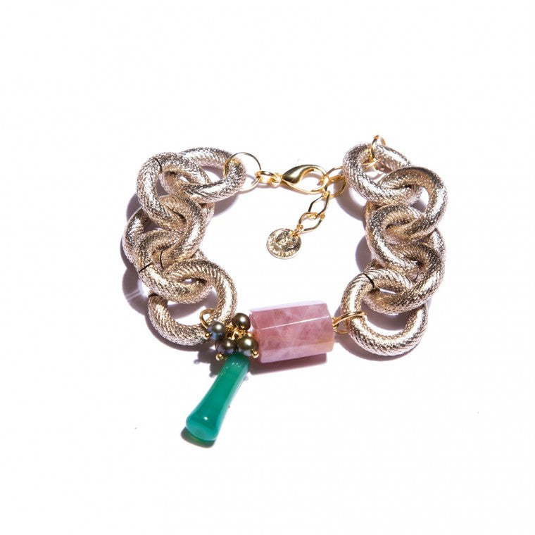Sand Anodized Bracelet, Strawberry Quartz, Green Agata, Natural Green Pearls