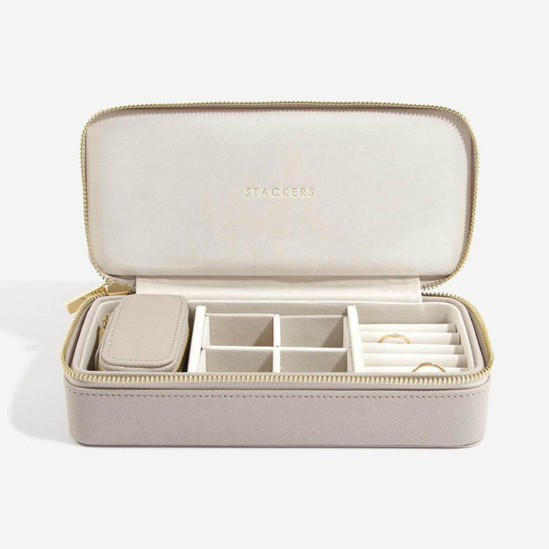 Taupe Large  Stackers + Petite Travel Jewellery Box